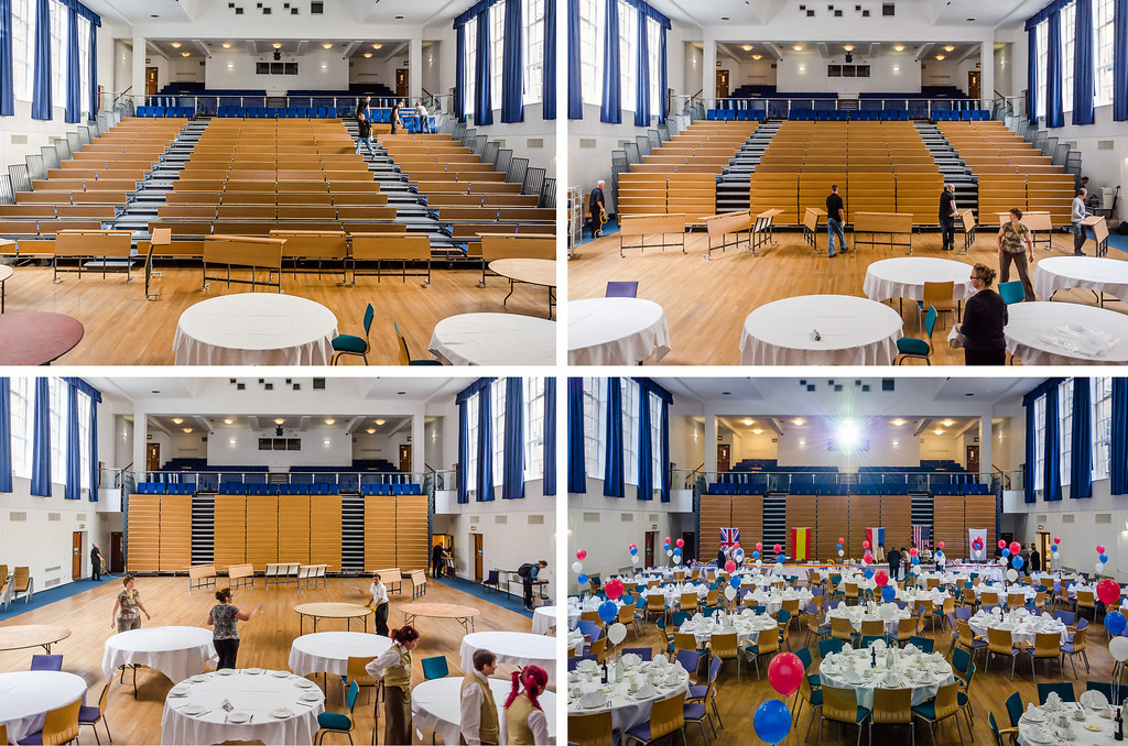 SOTM2013, day 2 – Transformation of the lecture room into a dining room