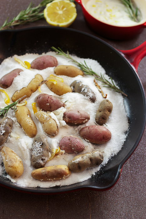 Lemon Rosemary Salt Roasted Fingerlings #potatoweek
