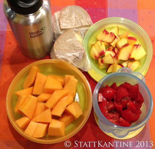 18.09.2013 - Stattkantine - Käsebrote, Pfirsich, Melone