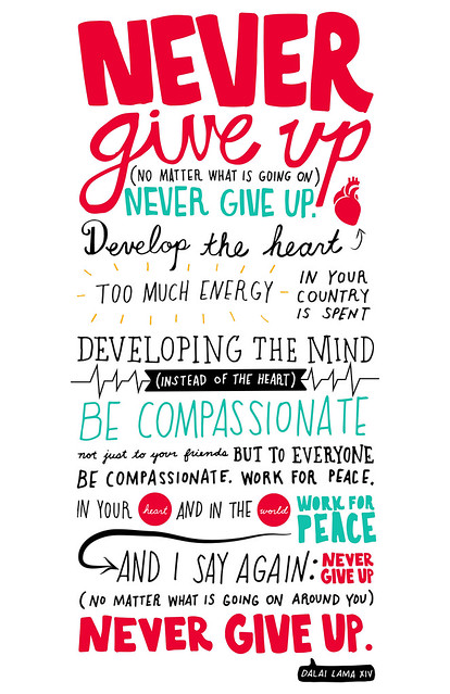 never give up - dalai lama xiv