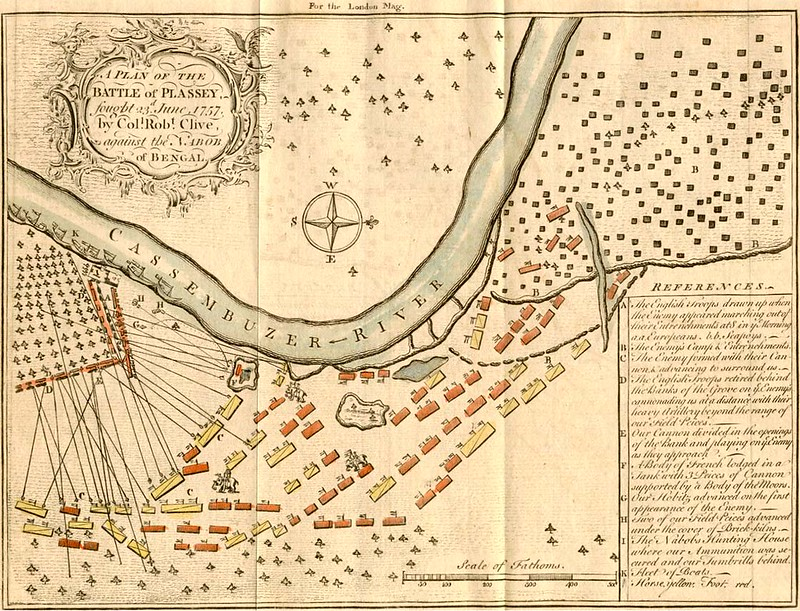 A Plan of the Battle of Plassey, from the London Magazine
