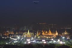 Wat Phra Kaew and Grand Palace, Bangkok, Thailand at night.