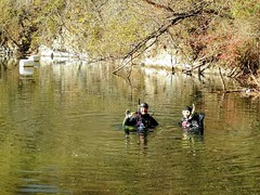 Scuba divers at the old quarry