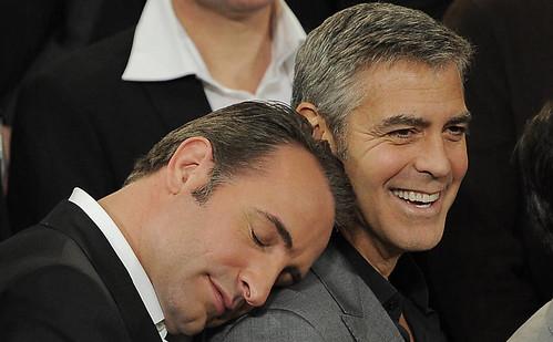 Oscar 2012 lunchroom - Clooney e Dujardin