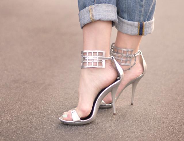silver strappy sandals DIY