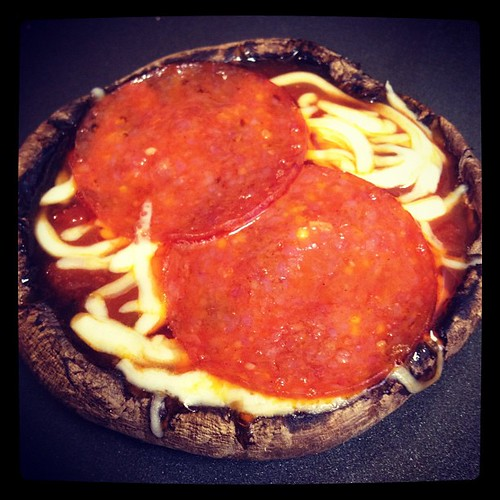 Portobello pizza cup! Very filling and fun to make. #paleo (on dairy) #primal