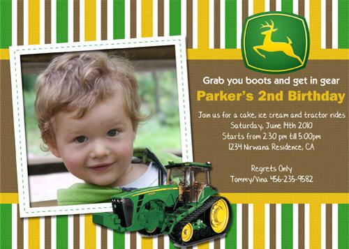 John Deere Green Tractor Custom Birthday Invitation