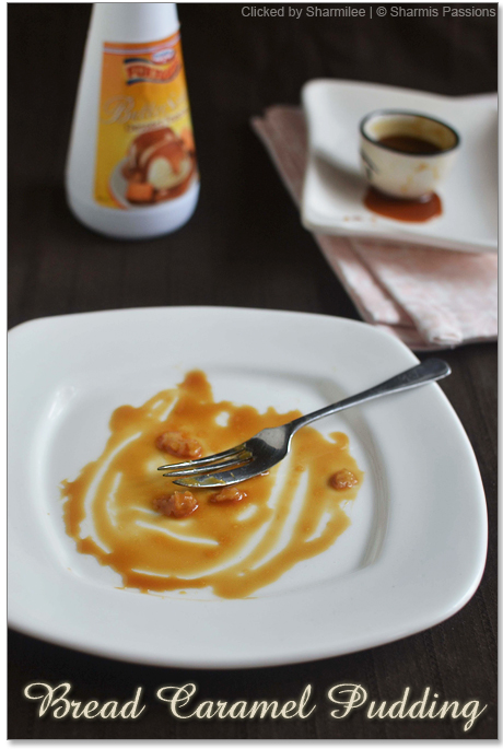 Eggless Caramel Bread Pudding Recipe