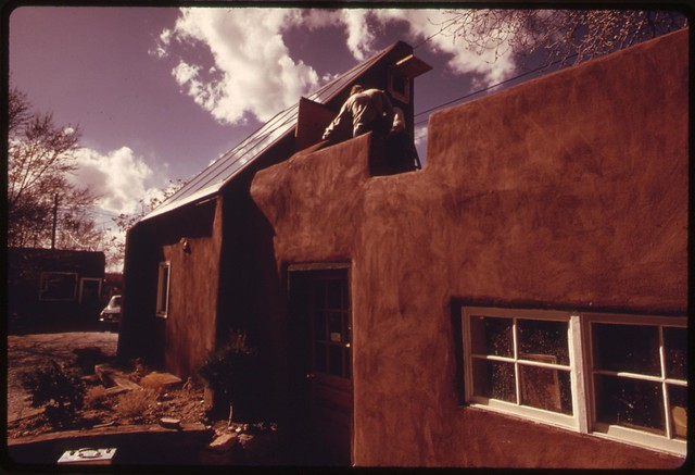 An adobe house, in Santa Fe, New Mexico, converted to solar energy heating..., 04/1974