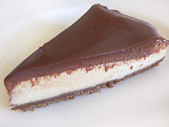 Gebakken cheesecake met chocolade ganache