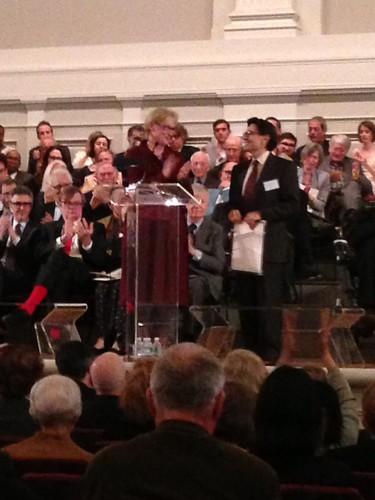 Meryl Streep presenting an award to Edward Villella
