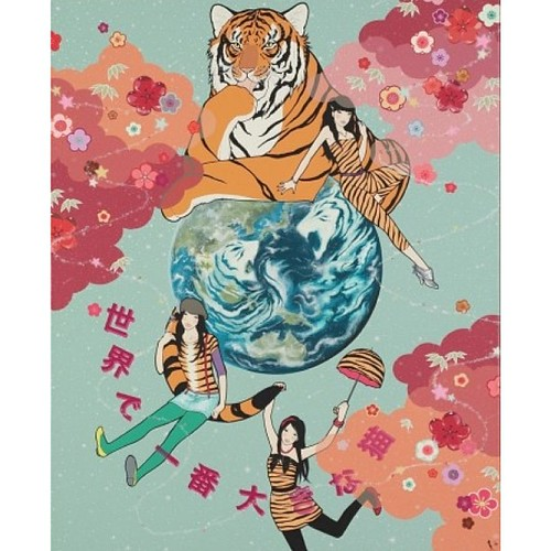 "Piece from 2008 solo show ""Japanese Wolf"" by Yumiko Kayukawa titled 'The World's Biggest Cat' - the artist will open her upcoming show at #shootinggallerysf on June 8th! #tbt #throwback #throwbackthursday #yumikokayukawa #tiger #earth #bigcat #japanese by White Walls and Shooting Gallery"