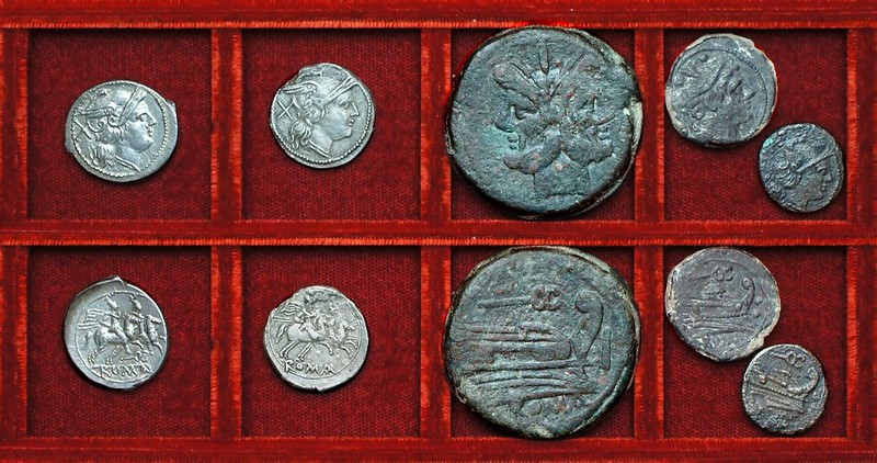 RRC 060 caduceus denarii, as, sextans, uncia, Ahala collection, coins of the Roman Republic