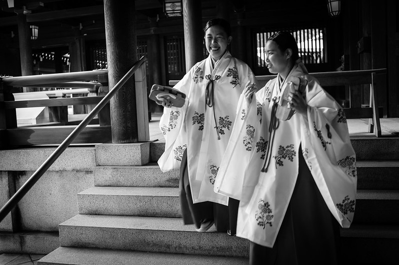 Temple helpers in Meiji Shrine, Tokyo