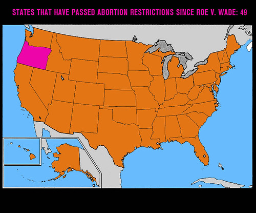 Map showing only Oregon has not passed any abortion restrictions since roe v wade