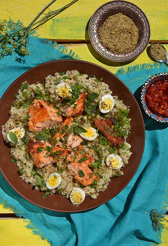quinoa ,salmon and qwail eggs
