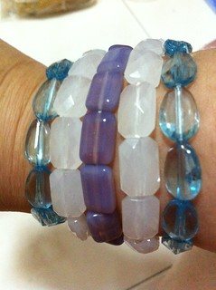 Stretchy bracelets in three colours