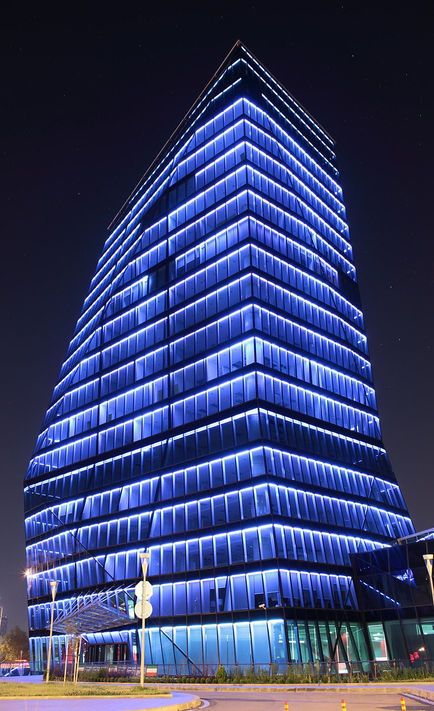 A business building at night