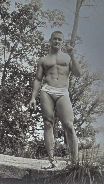 Vintage 1960s Photo: Shirtless Muscle Man Posing In A Pair Of Briefs Cut Speedo Swim Trunks 2