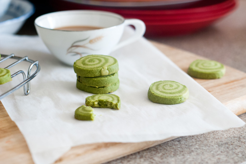 Coffee and matcha shortbread cookies.