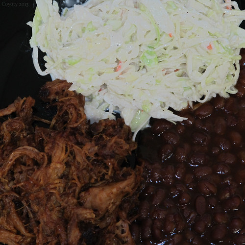 Pulled pork, baked beans, and cole slaw by Coyoty