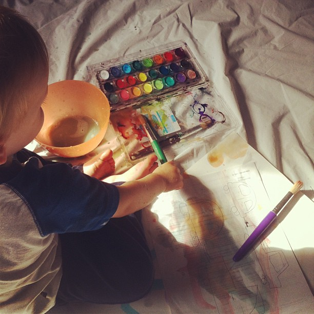 A watercolor kin of afternoon #paints #toddlers #art #howbigamesscanwemake