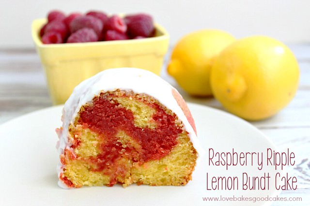 Raspberry Ripple Lemon Bundt Cake - a lemon bundt cake with a fun and yummy red raspberry ribbon layer, topped with a light raspberry glaze! #bundt #cake #lemon #raspberry