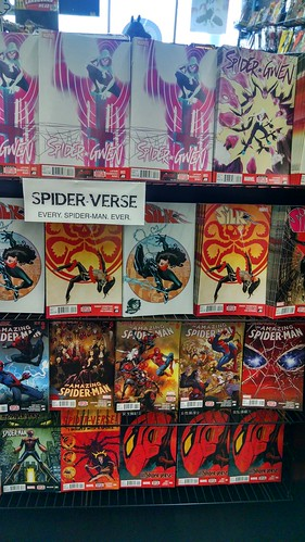 Numerous Spider-Man Titles at a Comic Book Store