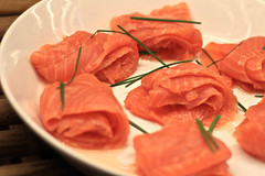 salmon, sashimi, fish, red meat, produce, food, dish, cuisine, smoked salmon,