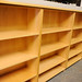 Large quantity of wooden office shelving