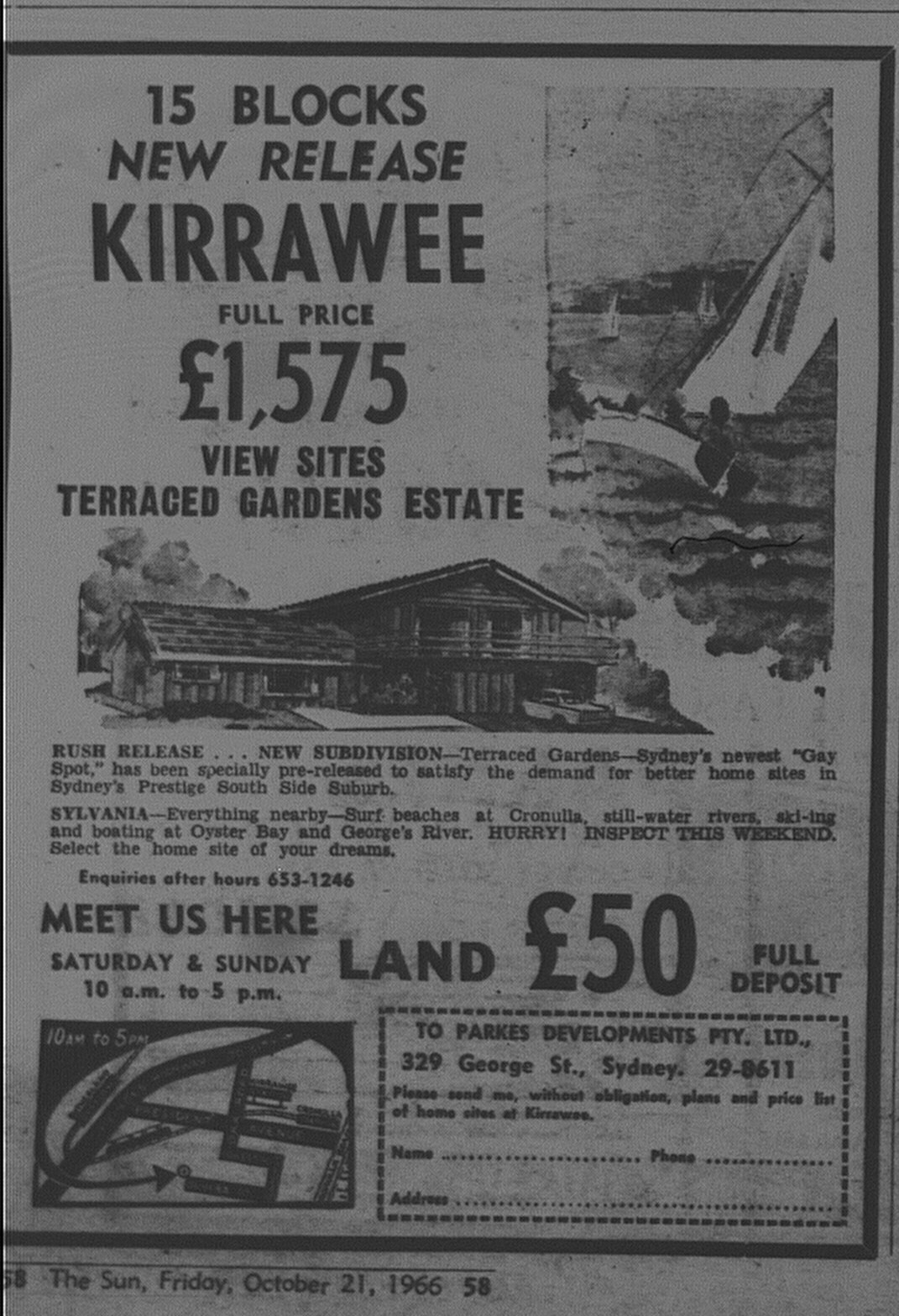 Kirrawee Ad October 21 1966 the sun 58