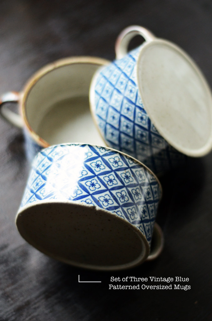 Set of Three Vintage Blue Patterned Oversized Mugs
