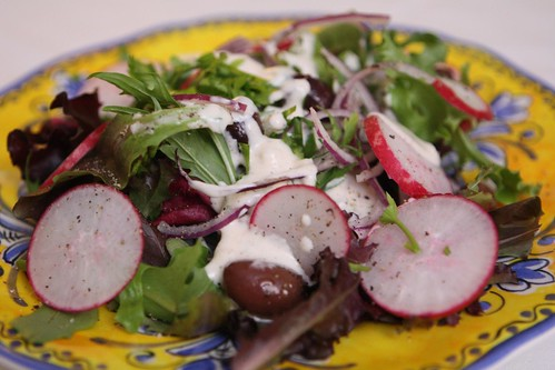 Spring Greens with Radish, Red Onion, Kalamata Olive, and Buttermilk Ranch Dressing