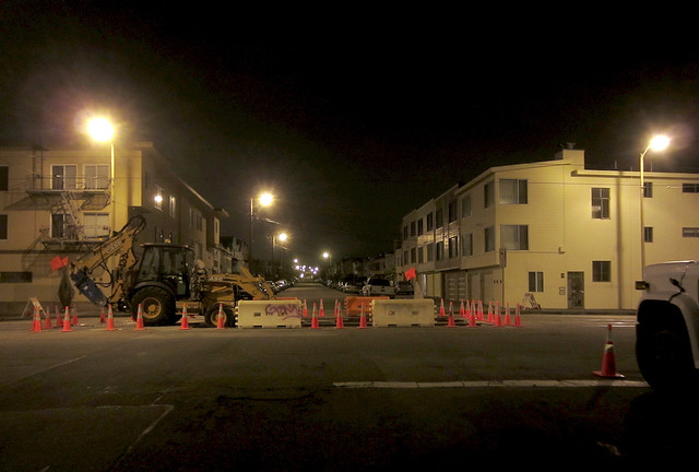 Road work site on Judah and 26th, night; The Sunset, San Francisco (2012)
