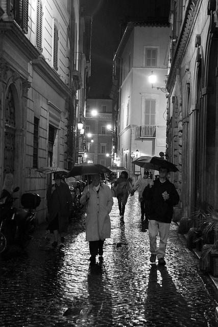 Rome street in the rain