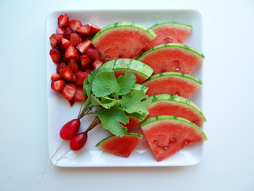 watermelon, radish & strawberry plate