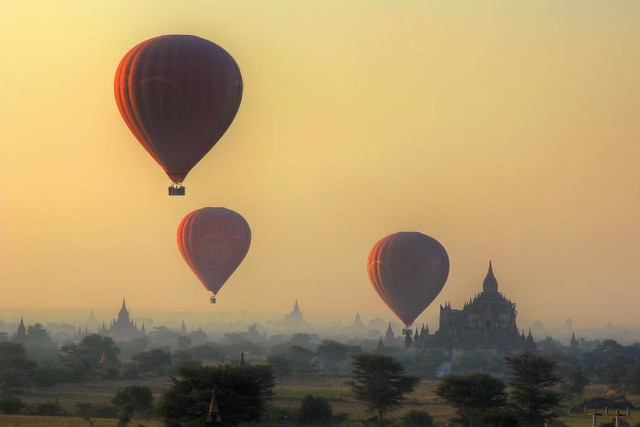 Balloons over Bagan (Pagan)   Myanmar (Burma)