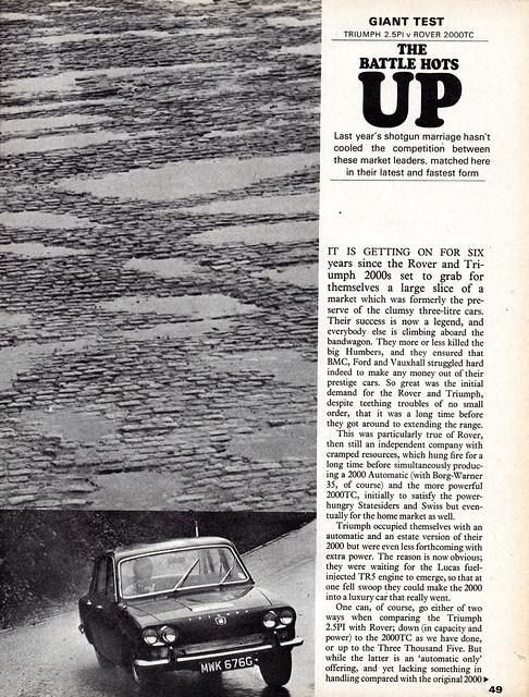 Rover 2000 TC & Triumph 2.5 Pi Twin Road Test 1969 (1)