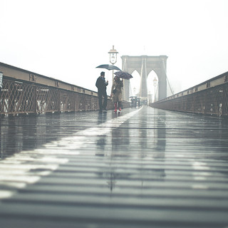 'In the Rain', United States, New York, New York City, Brooklyn Bridge