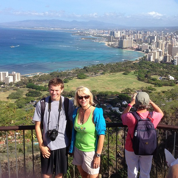 Hawaii - Day Two - Sharon and Jack on top of Diamond Head