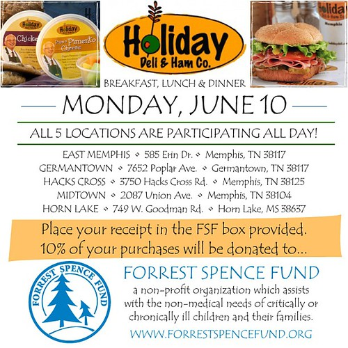 Mark your calendars for June 10 for breakfast/lunch/dinner Out for the Fund at Holiday Ham. All 5 locations are participating so tell everyone you know to go eat there sometime that day!