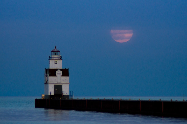 Lighthouse, Full Moon, Kewaunee, Wisconsin, Lake Michigan