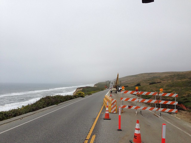 one lane on Hwy 1. Overcast and chilly. (and headwinds