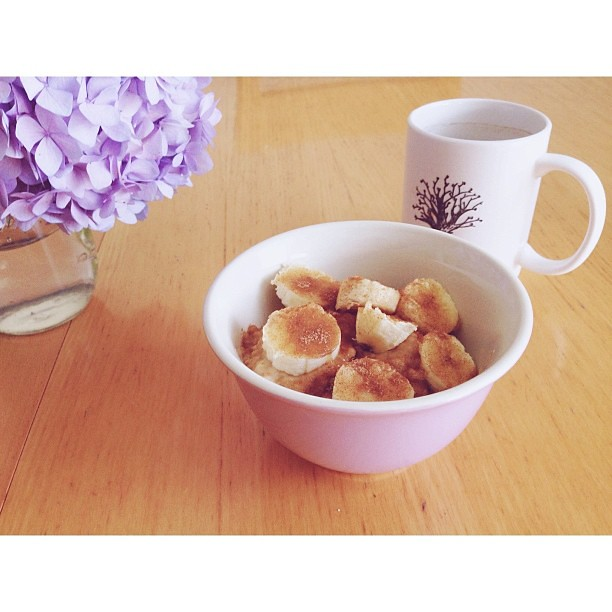 Breakfast this morning: oatmeal, with peanut butter, bananas, cinnamon & brown sugar.  Edited with #pictapgo_app