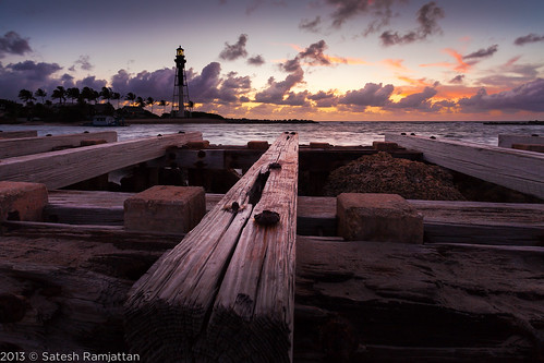 wood lighthouse sunrise landscape screws dawn florida jetty rusty satesh hillsboroinlet peaceinart