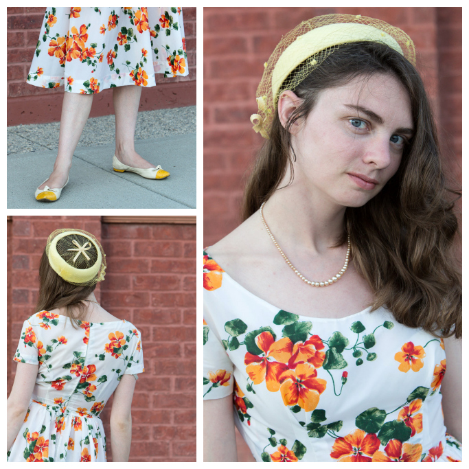 Vintage, French, flea Market, Orange flower dress, yellow hat, vintage dress, vintage hat, Never Fully Dressed,