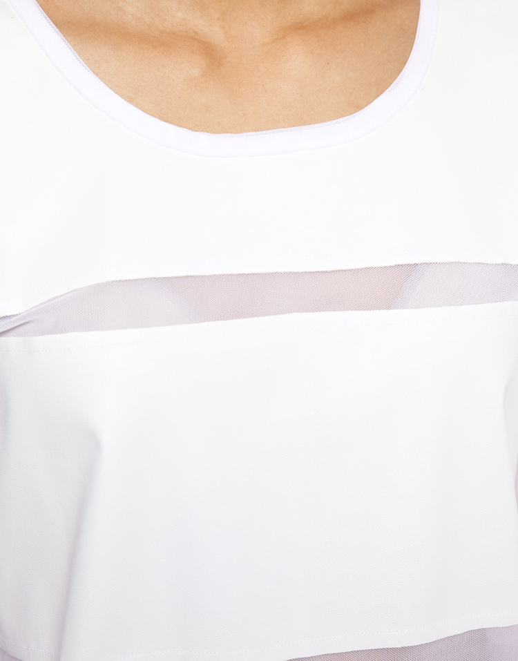 ASOS T-Shirt in Mesh with PU Stripe