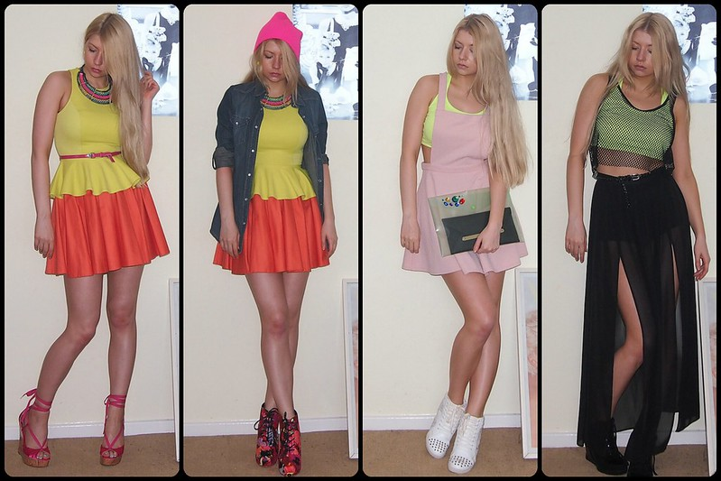 How to Wear, '90s, Sam Muses, Neon, Fluoro, Fluorescent, Colour Blocking, Primark, River Island, New Look, Peplum, Mini Skirt, Maxi Skirt, Pinafore, Denim Shirt, Beanie, DIY Clutch, Sheer, Crop Top, Fishnet