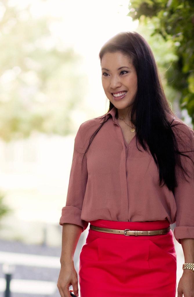 pink chiffon button down shirt, coral j.crew coral no. 2 pencil skirt, nude pumps