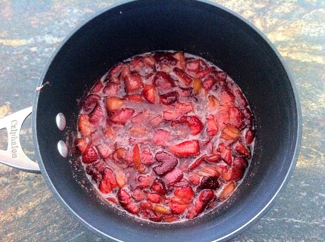 Roasted Strawberries and Rhubarb Transferred to Pot